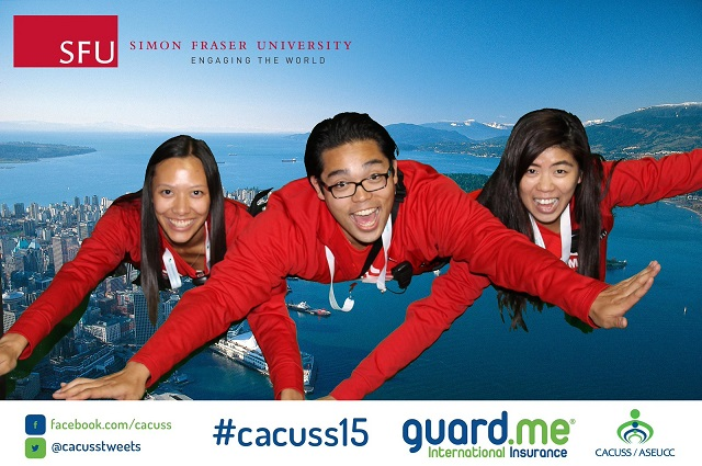 "Three students ""flying"" over a Vancouver green screen"