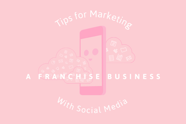 "Title reading ""tips for marketing a franchise business with social media"" with flat illustration of a smartphone"